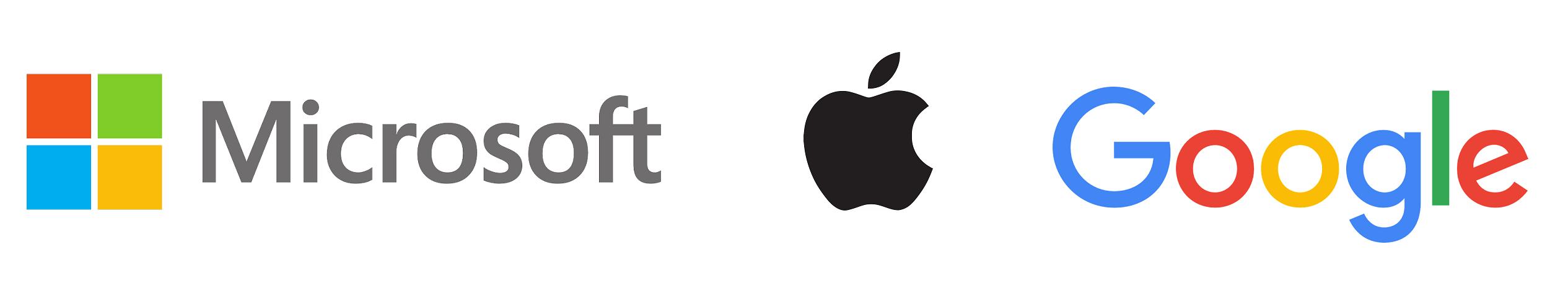 Microsoft, Apple, Google logos paint